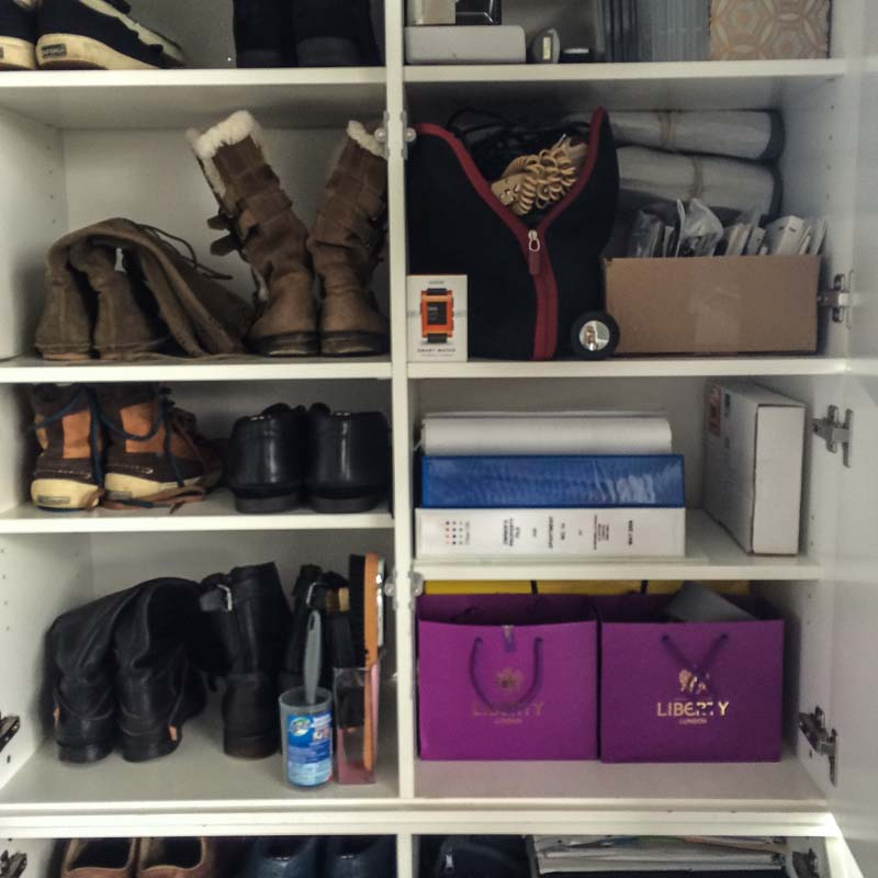 as we were cramped for space each shelf and what we put in made sense for this family easy to grab day to day items and shoes