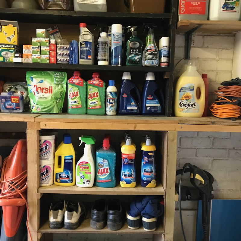 You can use your garage as a stock room. Make sure you can see what you have , it can save you pennies as well!