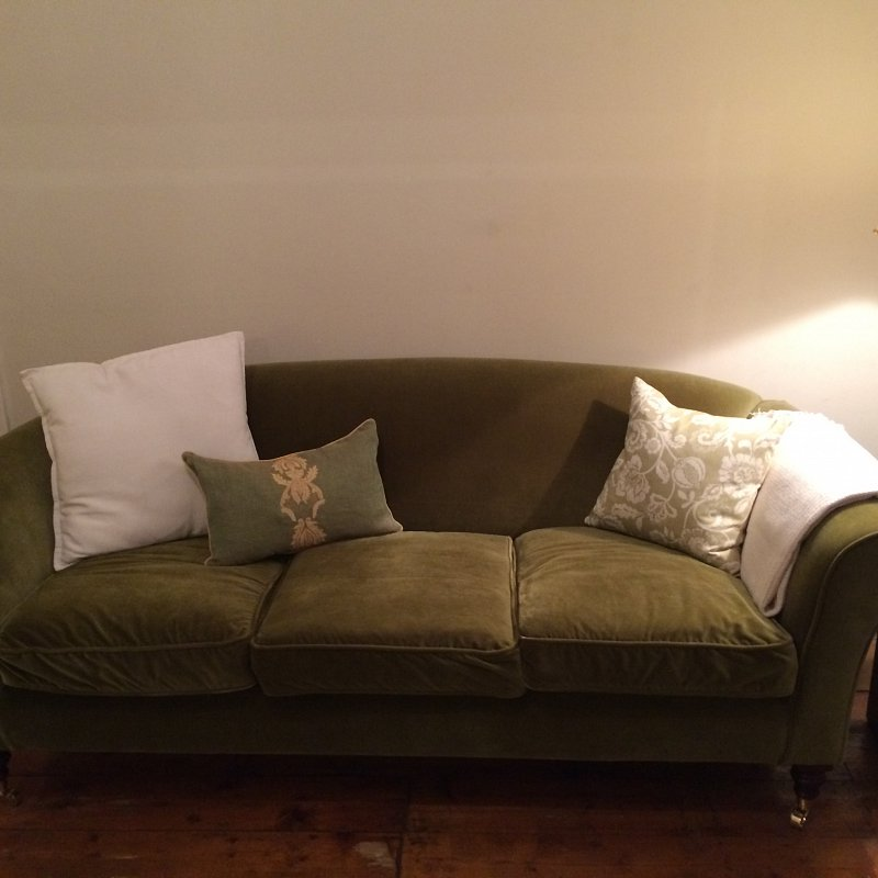 Already brightened up the sofas with these fabulous cushions and vintage light